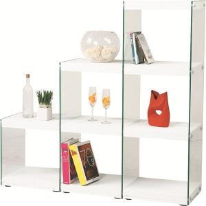 <title>ボックスラック ディスカウント ステアラック 3段 強化ガラス 幅123cm×高さ121cm HAB-702WH ホワイト 白</title>