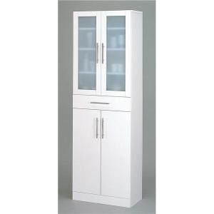 ガラス扉食器棚 キッチン収納 新品未使用 〔幅60cm×高さ180cm〕 ミストガラス使用 カトレア 春の新作 〔組立〕 大容量