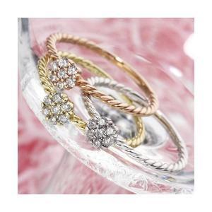 日本正規代理店品 k18ダイヤリング 指輪 WG 17号 美品 ホワイトゴールド