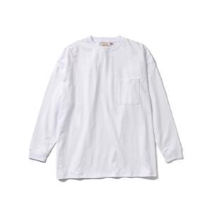 Goodwear(グッドウエア) USA COTTON L/S SUPER BIG POCKET TEE(WHITE) オーバーサイズ ビッグシルエット ロンティ blackannyfujisawayh