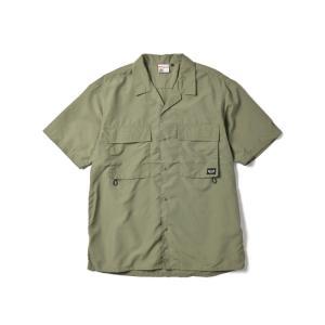 【SALE】WOODS SOFT TASLAN S/S SHIRT(OLVE) 半袖シャツ オーバーサイズ 開襟|blackannyfujisawayh