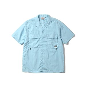 【SALE】WOODS SOFT TASLAN S/S SHIRT(LIGHT BLUE) 半袖シャツ オーバーサイズ 開襟|blackannyfujisawayh