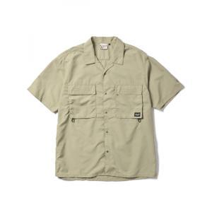 【SALE】WOODS SOFT TASLAN S/S SHIRT(KHAKI) 半袖シャツ オーバーサイズ 開襟|blackannyfujisawayh