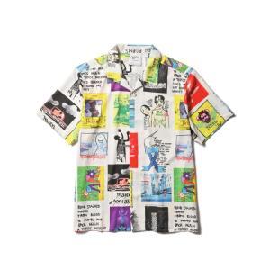SALE【MARK GONZALES/マークゴンザレス】PRINTED OPEN COLLAR SHIRT(WHITE COLLAGE)ストリート ファッション ビッグサイズ 大きいサイズ プリントシャツ |blackannyfujisawayh
