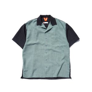FLATLUX MOIST SS SHIRT(BONSAI)  フラットラックス 半袖シャツ 開襟シャツ ビッグシルエット|blackannyfujisawayh