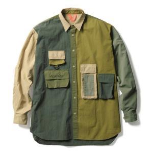 【FLATLUX(フラットラックス)】GRAND THEFT SHIRT(ARMY)フィッシングシャツ オーバーシャツ 90's|blackannyfujisawayh