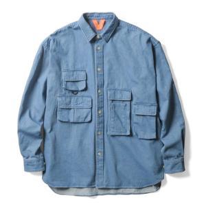 【FLATLUX(フラットラックス)】GRAND THEFT SHIRT(DENIM)フィッシングシャツ オーバーシャツ 90's|blackannyfujisawayh