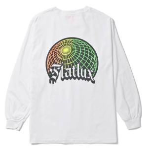 【FLATLUX(フラットラックス)】GLOBE L/S TEE(WHITE)大きいサイズ ビッグサイズ グローバル 地球 世界 ロンT ネオンカラー レインボー blackannyfujisawayh