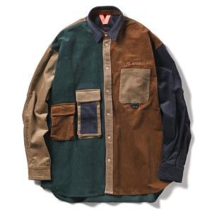 【FLATLUX(フラットラックス)】GRAND CORD SHIRT(TAUPE)  フィッシングシャツ コーデュロイ シャツ 90's オーバーシャツ|blackannyfujisawayh