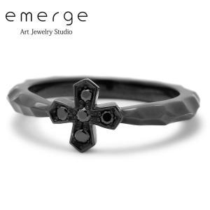emerge / エマージュ スモールクロスリング ブラックコーティング ブラックキュービックジルコニア|blackbarts