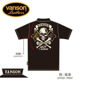 新作先行予約 VANSON / バンソン クロスボーンスカル 天竺半袖ポロシャツ NVPS-901 blackbarts