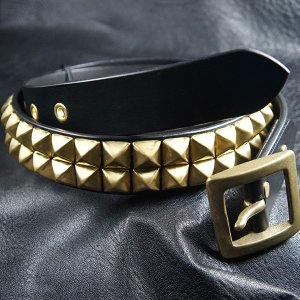 2連ピラミッドスタッズベルト35mm幅/2row Pyramid Studs Belt 35mm|blackchaser