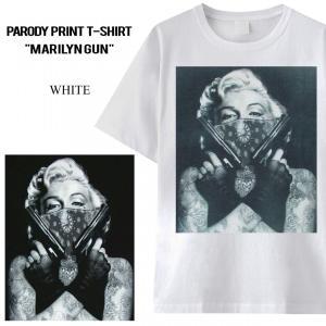 """男女兼用 ユニセックス パロディ プリント Tシャツ """"marilyne gun"""" Marilyn ..."""