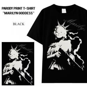Tシャツ パロディ ペアルック もオススメ 男女兼用 ユニセックス マリリン モンロー 自由の女神 ...