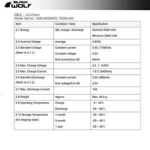 【BLACK WOLF】18650-3500 通電性が優秀で大光量ライトの能力を発揮できる18650リチウムイオンバッテリーです。部材はライト使用にウエイトを置き厳選 blackwolf 03