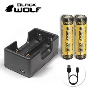 電池充電器セット 18650リチウムイオン電池 (ノーマル LG 2600mAh)+充電クレードル(2本用) Li-2500 microUSB|blackwolf