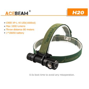 【ACEBEAM】ヘッドライト[リフレクタータイプ] H20 CreeXLamp XP-L HI LED(色温度4000K)1000ルーメン★閃光ライト 米国 アメリカ|blackwolf|03