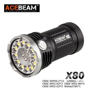 ACEBEAM X80 LEDハンディライトエースビーム ブラック 充電式 防水IPX8 釣り爆光 閃光 アウトドア 釣り キャンプ 登山 懐中電灯 防災 防犯|blackwolf