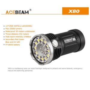 【ACEBEAM】X80明るさ25000ルーメン爆光!CREE XLamp XHP50*12、XPE2(カラー)。多くのライトマニアをも魅了さる注文度が高いブランドです。光を楽しむ。 blackwolf 02