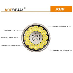 【ACEBEAM】X80明るさ25000ルーメン爆光!CREE XLamp XHP50*12、XPE2(カラー)。多くのライトマニアをも魅了さる注文度が高いブランドです。光を楽しむ。 blackwolf 03