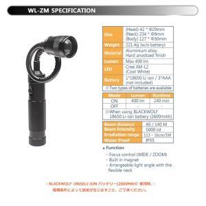 【BLACK WOLF】WL-ZM CREE XLamp XM-L2を搭載し明るさ400ルーメンです。マグネット搭載で固定でき、フレキシブルに動くネックは届きにくい箇所や角度調整に blackwolf 06