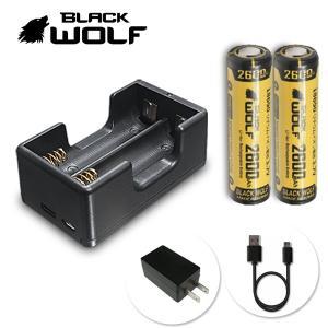 電池充電器セット 18650リチウムイオン電池 (ノーマル LG 2600mAh)+充電器(急速2本用) Li-2500QC Type-c  microUSB Quick Charge|blackwolf