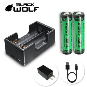 電池充電器セット 18650リチウムイオン電池 (大容量 LG 3500mAh)+充電器(急速2本用) Li-2500QC Type-c  microUSB Quick Charge|blackwolf
