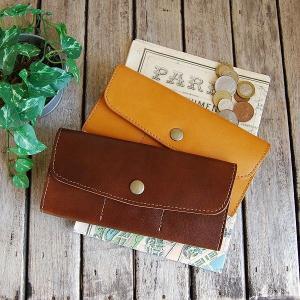 長財布 大きなスナップボタンで取り出し楽々 本革 / ロングウォレット|blanc-couture