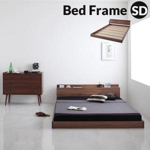 ベッド フレーム セミダブル ベッド 収納 棚 付き 木製 ローベッド フロアベッド ロータイプ お...