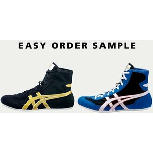 Order-made wrestling shoes with embroidey  asics easy order system|blanc-roche