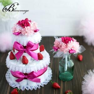 ブーケ付 出産祝い おむつケーキ ギフト プリザーブドフラワー ストロベリーショートケーキ(2段) おしゃれ 花 苺 イチゴ 花束|blancmage
