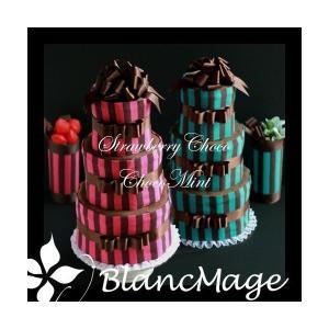 出産祝い おむつケーキ 送料無料 パンパース チョコケーキ3段(ストロベリー、ミント)|blancmage