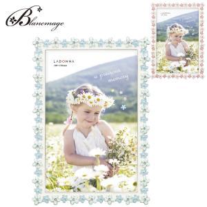 ブライダルフォトフレーム 小花 無料ラッピング 無料メッセージカード  ウェルカムボード 結婚祝い 出産祝い ブルー ピンク ラドンナ  BJ29-P|blancmage