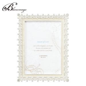 ブライダルフォトフレーム レース  L判 無料ラッピング 無料メッセージカード  結婚祝い 出産祝い おむつケーキやお花と同梱可能 白  ラドンナ  MJ83-L-WH|blancmage