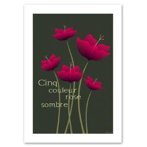 ポスター A3サイズ 『Cinq ダークグレー』 アート/花,植物 おしゃれポスター/Interior Art Poster|blankwall