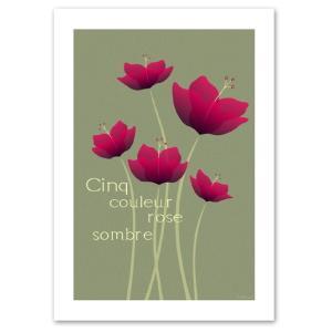 ポスター A3サイズ 『Cinq ライトグレー』 アート/花,植物 おしゃれポスター/Interior Art Poster|blankwall