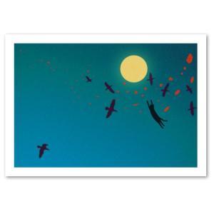 シルエットキャット 『Birds』 ポスター A2サイズ ネコ ねこ 猫 フォト 黒猫 インテリア アート blankwall