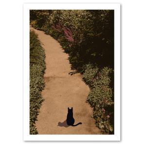 シルエットキャット 『Garden』 ポスター A2サイズ ネコ ねこ 猫 フォト 黒猫 インテリア アート blankwall