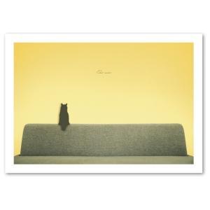 シルエットキャット 『Sofa』 ポスター A2サイズ ネコ ねこ 猫 フォト 黒猫 インテリア アート blankwall