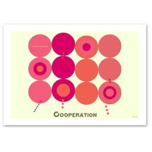 ポスター 北欧スタイル A2サイズ 『Cooperation ピンク 横タイプ』 おしゃれ インテリア ポップポスター Interior Art Poster|blankwall