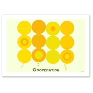 ポスター 北欧スタイル A2サイズ 『Cooperation イエロー 横タイプ』 おしゃれ インテリア ポップポスター Interior Art Poster|blankwall