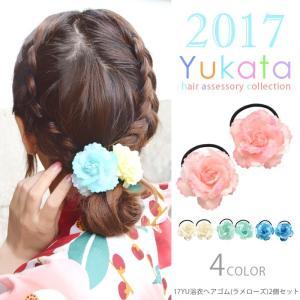 浴衣 髪飾り ヘアゴム ラメ ローズ 2個セット ヘアアクセサリー 小物 子供|blaze-japan