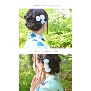 浴衣 髪飾り フラワー ヘアーピン キュート ローズ 2個セット BLAZE ヘアアクセサリー ヘアアクセ キッズ 子供  パッチンピン パッチンどめ 花 造花|blaze-japan|03