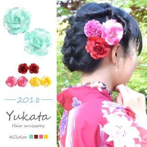浴衣 髪飾り フラワー ヘアーピン ローズ 2個セット BLAZE ヘアアクセサリー ヘアアクセ   レディース パッチンピン パッチンどめ 花 造花|blaze-japan