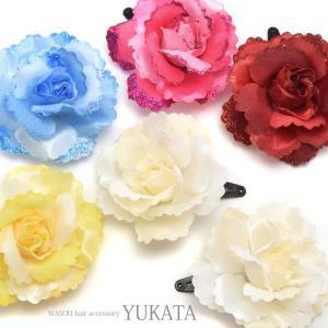 浴衣 髪飾り フラワー ヘアーピン ローズ 2個セット BLAZE ヘアアクセサリー ヘアアクセ   レディース パッチンピン パッチンどめ 花 造花 blaze-japan