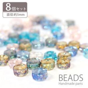 ガラス ビーズ ロンデル カット S クリア カラー 8個セット BLAZE|blaze-japan