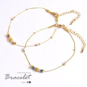 ゴールド チェーン ブレスレット ガラス ビーズ BLAZE アクセサリー ブレス|blaze-japan