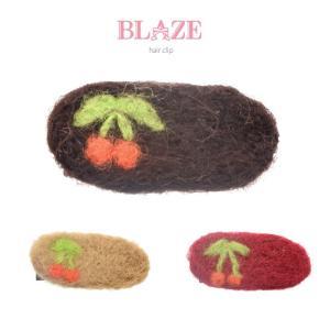 ミニ クリップ さくらんぼ 柄 羊毛 フェルト ヘアアクセ 小さい 小さめ 子供 キッズ 女の子|blaze-japan