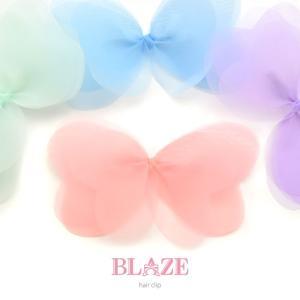 ふんわり オーガンジー リボン ヘアクリップ ヘアアクセ 子供 キッズ 女の子 クリップ|blaze-japan