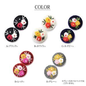 ベルベット フラワー 刺繍 くるみ ボタン L 2個 セット BLAZE 秋冬|blaze-japan|02